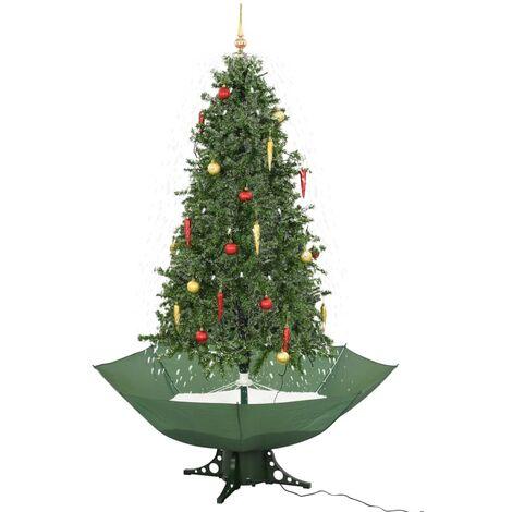 Árbol de Navidad con nieve con base en paraguas verde 190 cm