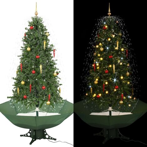 arbol de Navidad con nieve con base en paraguas verde 190 cm