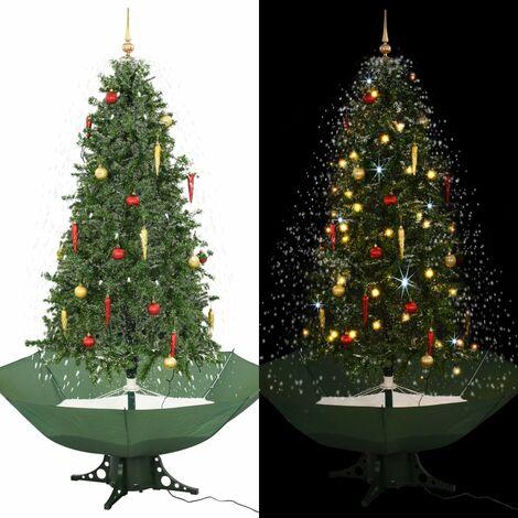 Árbol de Navidad con nieve con base en paraguas verde 190 cm - Verde