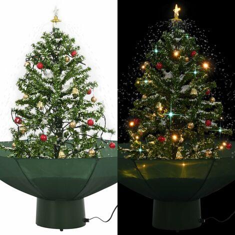 Árbol de Navidad con nieve con base en paraguas verde 75 cm - Verde