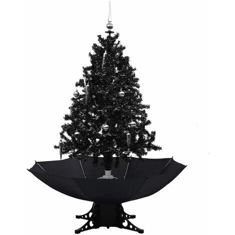 Árbol de Navidad con nieve y base de paraguas PVC negro 140cm