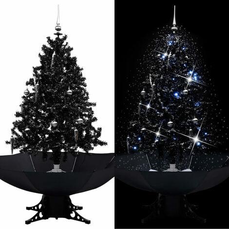 arbol de Navidad con nieve y base de paraguas PVC negro 140cm