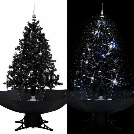 Árbol de Navidad con nieve y base de paraguas PVC negro 140cm - Negro
