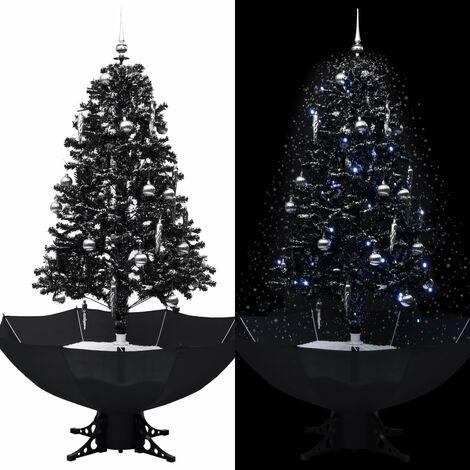 Árbol de Navidad con nieve y base de paraguas PVC negro 170 cm - Negro