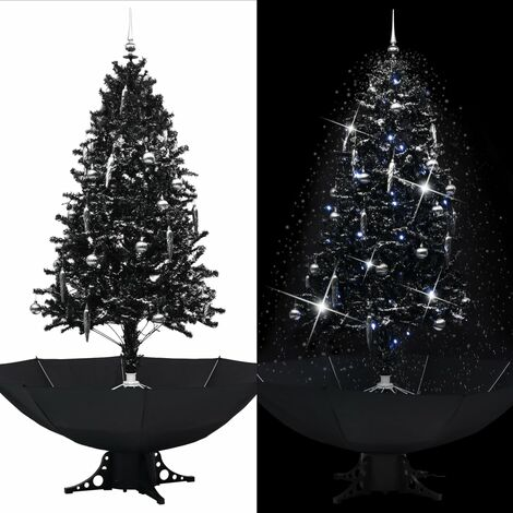 Árbol de Navidad con nieve y base de paraguas PVC negro 190 cm