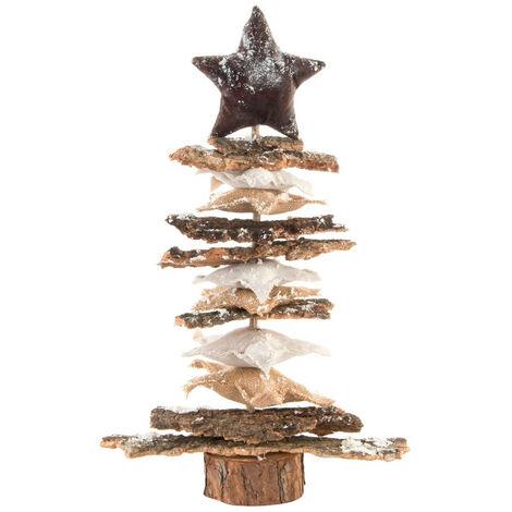 Árbol de Navidad de Madera Natural, Diseño de Estrellas junto con un efecto de Nieve, Original/Moderno. 37X12X50 cm.-Hogarymas-