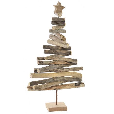 Árbol de Navidad de Madera Natural, Diseño de Troncos y estrella, ideal para Decorar. Original/Navideño. 25X45 cm.-Hogarymas-
