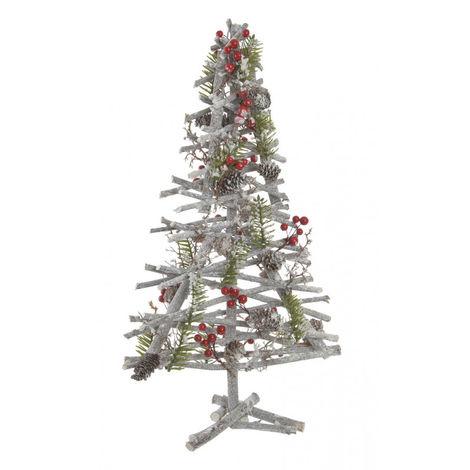 Árbol de Navidad de Madera Natural, Diseño Original/Navideño con Bayas y Piñas, ideal para Decorar. 20X53 cm.-Hogarymas-