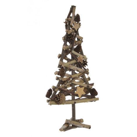 Árbol de Navidad de Madera Natural, Diseño Original/Navideño con Estrellas y Piñas, ideal para Decorar. 25X58 cm.-Hogarymas-