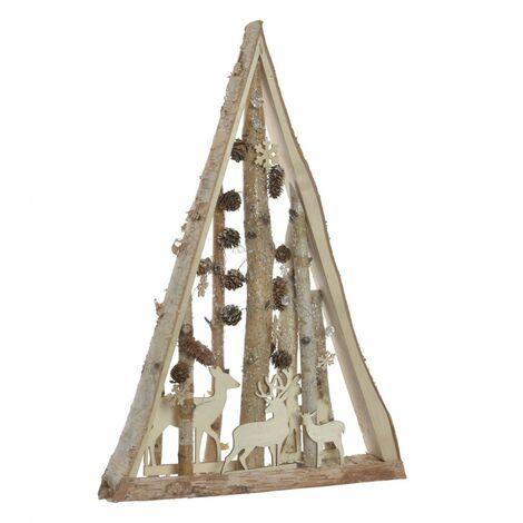 Árbol de Navidad de Madera Natural, Diseño Original/Navideño con Renos y Piñas, ideal para Decorar. 40X7X60 cm.-Hogarymas-