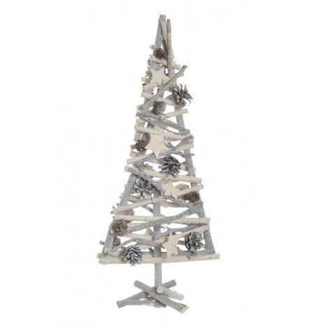 Árbol de Navidad de Madera Natural hecho de Ramas y Piñas, con acabado Nevado. Diseño Navideño con estilo Hogareño - Hogar y Más