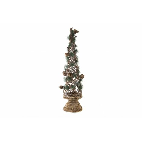 Árbol de Navidad original y llamativo de mimbre natural con detalles de piñas - Hogar y Más