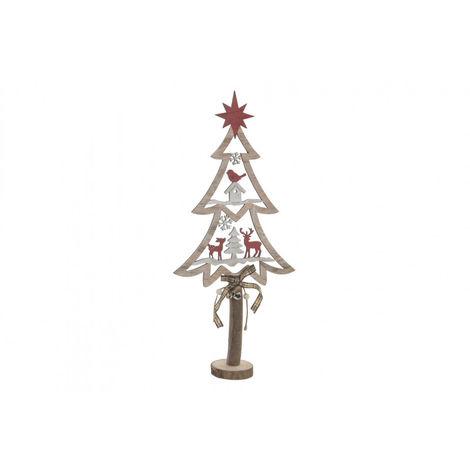Árbol de Navidad Pequeño, de Madera Natural con acabado Vintage, para Decoración Navideña. Diseño de Nieve/Natural - Hogar y Más