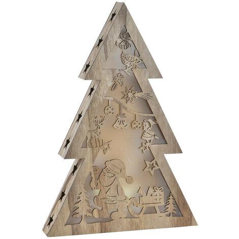 Árbol de Navidad Pequeño, realizado en Madera Natural, con Luces LED. Diseño Navideño, con estilo Festivo - Hogar y Más A