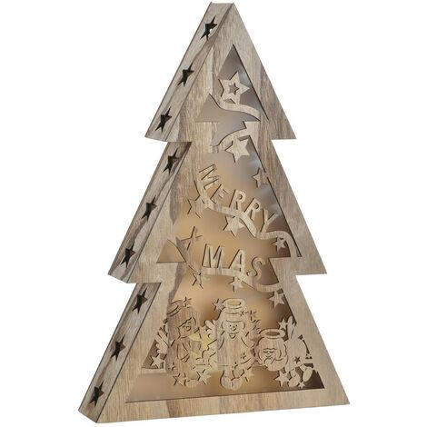 Árbol de Navidad Pequeño, realizado en Madera Natural, con Luces LED. Diseño Navideño, con estilo Festivo - Hogar y Más B