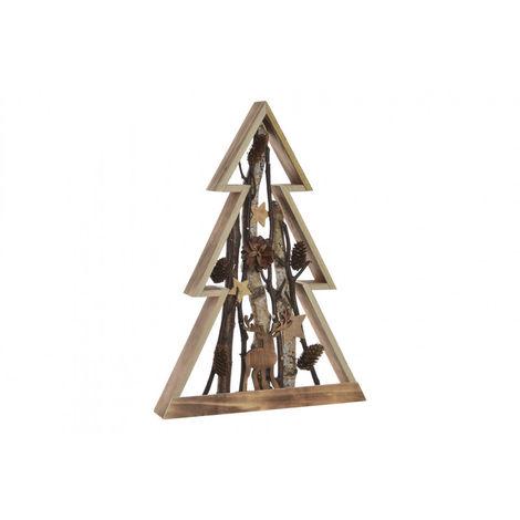 Árbol de Navidad realizado en Madera Natural, con Ramas y Piñas. Diseño Navideño con estilo Rural/Hogareño - Hogar y Más