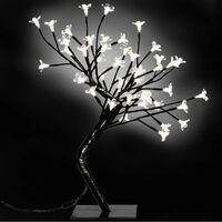 Arbol mediano con luces LED blancas cerezo, 2 unidades