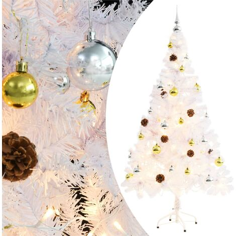 Árbol Navidad artificial decorado bolas luces LED 150 cm blanco