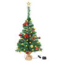 8dd315c9245 Árbol Navidad artificial decorado bolas luces LED 64 cm verde