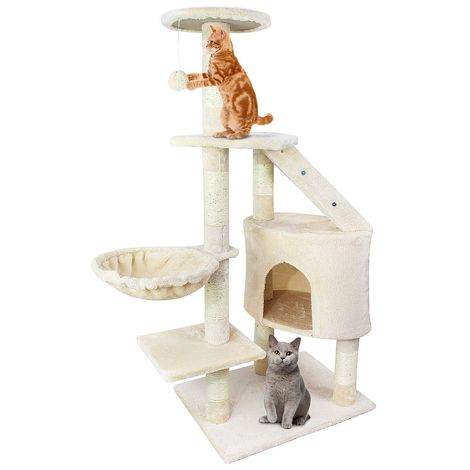 Árbol para Gatos, Escalador para Gatos, 120 cm, 5 plataformas, Beige, Material: MDF