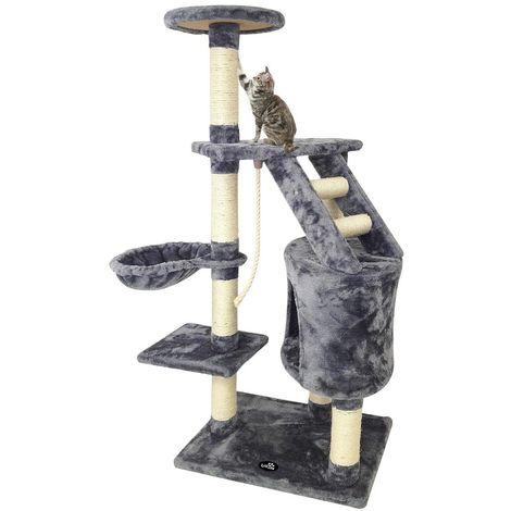 Árbol para Gatos, Escalador para Gatos, 120 cm, 5 plataformas, Gris, Material: MDF