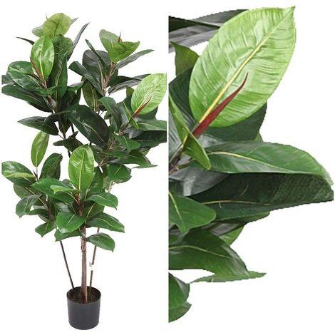 Arbol planta Ficus Robusta artificial con maceta. Realista. Altura 120 Cm