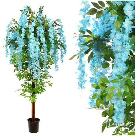 Arbol Planta Wisteria Artificial. Realista Tela y Tronco Natural. 180 Cm. Azul