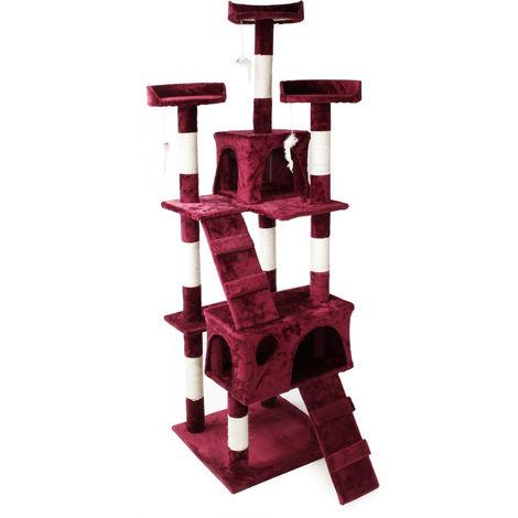 Árbol rascador para gatos Color rojo-vino 170 cm Accesorios mascotas Animales de compañía