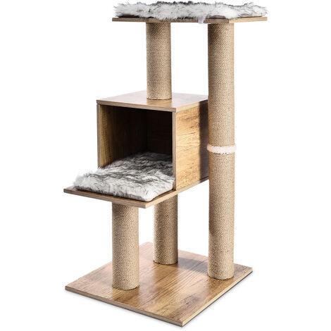 """main image of """"Arbol rascador para gatos con nido y plataforma, arbol de actividades con poste rascador para gatos, poste de sisal, rascador para gatos, casa para gatos, juguete de gatos, centro de actividad, altura 99cm"""""""