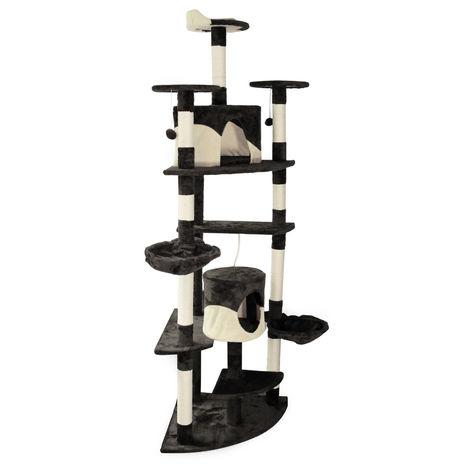 Árbol rascador para gatos de esquina 200cm Negro/blanco Accesorios mascotas Animales de compañía