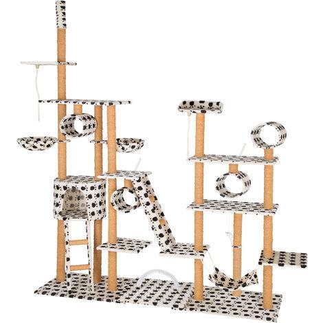 Árbol rascador para gatos Silvia 261cm - árbol rascador para gatos, parque de juegos para gatos con columnas de sisal, juguete para gatos con casetas