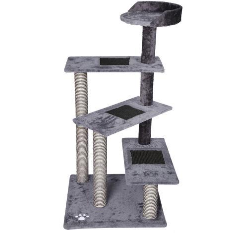 Arbre à chat 100cm gris/gris clair avec tiges de sisal et 4 surfaces de couchage