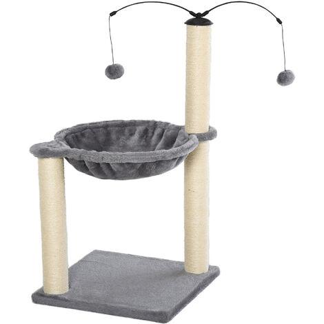 Arbre à chat 2 griffoirs grattoirs sisal naturel hamac jeu 2 boules suspendues peluche haute densité 400 g/m² gris