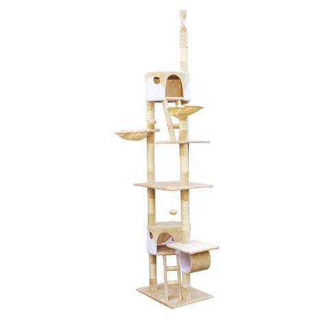 Arbre à chat 240-260cm en beige/blanc Hauteur plafond avec cordes en Sisal Niches et Hamacs Grattoir