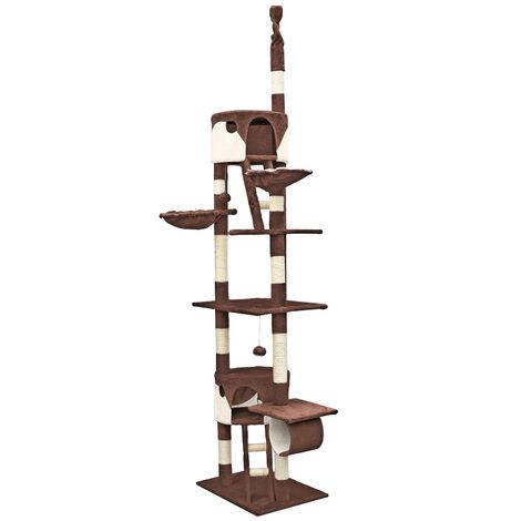 Arbre à chat 240-260cm en beige/marron Hauteur plafond Cordes en Sisal Niches et Hamacs Grattoir
