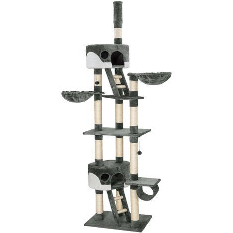 Arbre à chat 240 cm à 260 cm HANSI Griffoir avec 2 Hamacs + 2 Cabanes Gris / Blanc