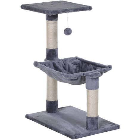 Arbre à chat 3 griffoirs grattoirs sisal naturel plateforme hamac et boule suspendue dim. 50L x 26l x 70H cm peluche haute densité 500 g/m² gris