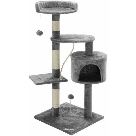 Arbre à chat - 3 plateformes panoramiques - Griffoir grotte balle corde - Chat