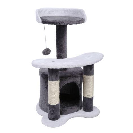 Arbre à chat 65 cm gris/ blanc avec corde en Sisal Plateforme Niche et balle de jeux Griffoir