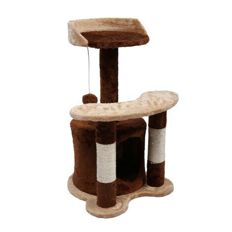Arbre à chat 65 cm marron/ beige avec corde en Sisal Plateforme Niche et balle de jeux Griffoir