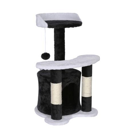 Arbre à chat 65 cm noir/ blanc avec corde Sisal Plateforme Niche et balle de jeux Griffoir Grattoir