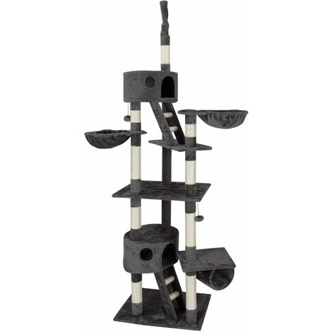Arbre à chat arbre à chat arbre Jeu d'escalade Arbre à chat avec fixation plafond hauteur réglable avec 2niches et 2surfaces de couchage + 2Jeu Cordes–Choix de Couleurs
