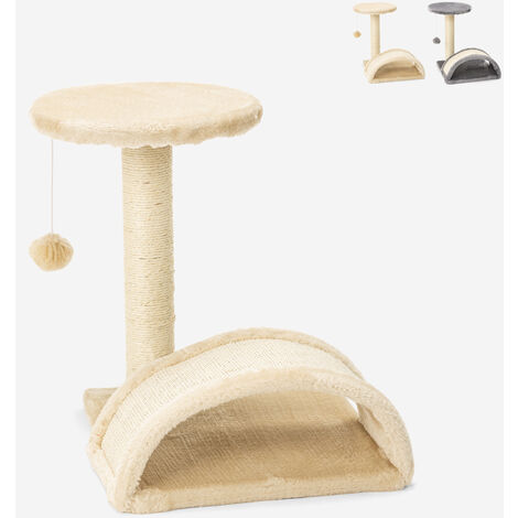 Arbre à chat avec colonne sisal et tunnel en arc 45 cm jeu relax balle Manx