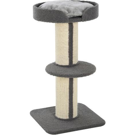 Arbre à chat avec griffoir centre d'activités 2 plateformes coussin gris