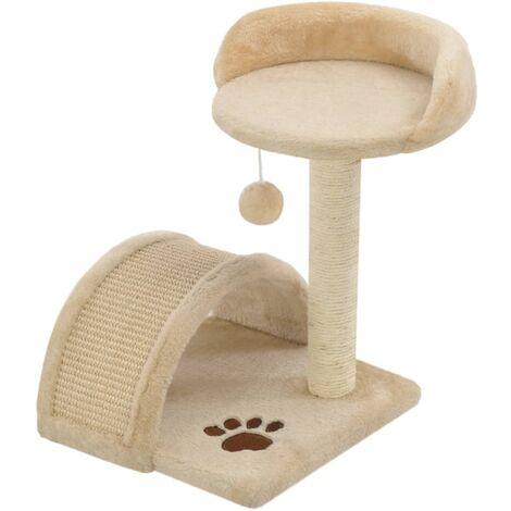 Arbre à chat avec griffoir en sisal 40 cm Beige et Marron