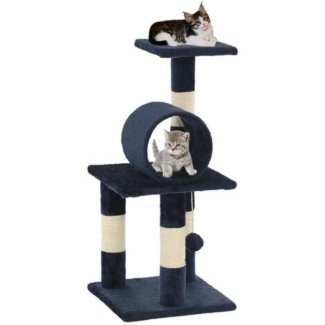 Arbre a chat avec griffoirs en sisal 65 cm Bleu fonce