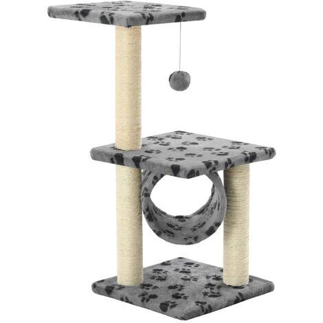 Arbre à chat avec griffoirs en sisal 65 cm Gris Motif de pattes