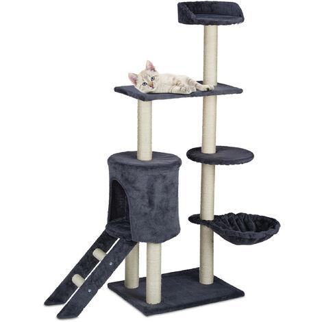 Arbre à chat, avec grotte, panier & escalier, grattoir XL, HLP 134 x 110 x 40,5 cm, griffoir solide, gris