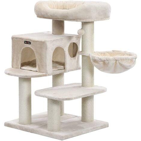 Arbre à chat avec plate forme d'observation hamac grande grotte troncs épais en sisal stable 112 cm beige - Beige