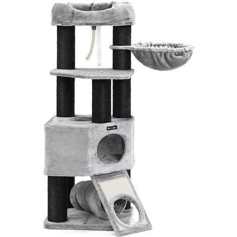 Arbre à chat avec plate forme d'observation hamac grande grotte tunnel troncs épais en sisal noir stable 41 cm gris clair - Gris